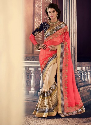 PinkBiege386 Georgette Party Wear Indian Wedding Saree at Zikimo