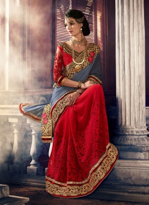 RedGrey387 Georgette Party Wear Indian Wedding Saree at Zikimo