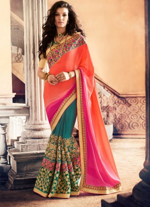OrangePinkGreen388 Georgette Party Wear Indian Wedding Saree at Zikimo