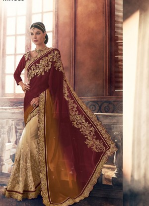 MaroonMustardBiege389 Georgette Net Party Wear Indian Wedding Saree at Zikimo