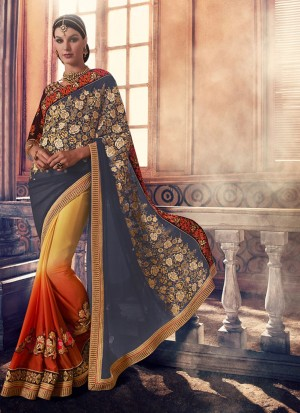 YellowBlueOrange390 Chiffon Georgette Party Wear Indian Wedding Saree at Zikimo