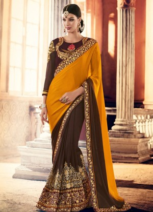 YellowBrown391 Crape Georgette Party Wear Indian Wedding Saree at Zikimo