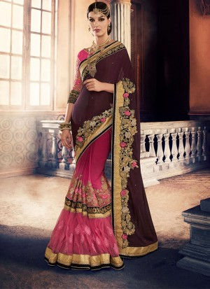 MagentaPink392 Georgette Net Party Wear Indian Wedding Saree at Zikimo