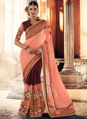 PeachMagenta393 Georgette Net Party Wear Indian Wedding Saree at Zikimo