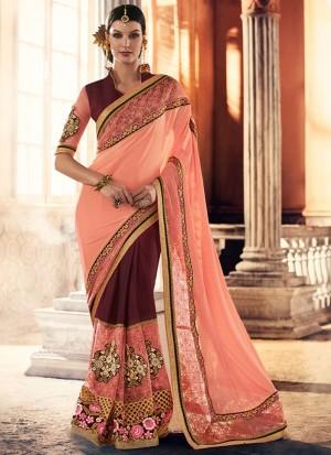 PeachMagenta393 Georgette Net Party Wear Indian Wedding Saree at Zikimo