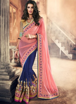 PinkBlue394 Lycra Georgette Party Wear Indian Wedding Saree at Zikimo