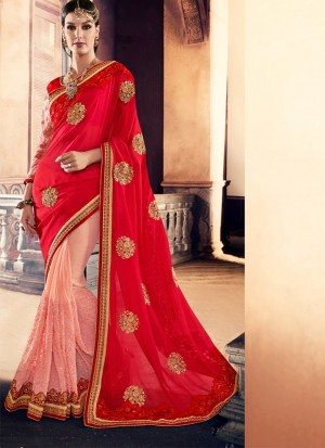 RedPink395 Georgette Party Wear Indian Wedding Saree at Zikimo