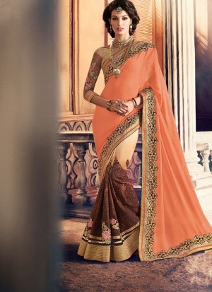 OrangeBiege396 Georgette Party Wear Indian Wedding Saree at Zikimo