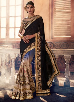 BlueBlackBiege397 Georgette Party Wear Indian Wedding Saree at Zikimo