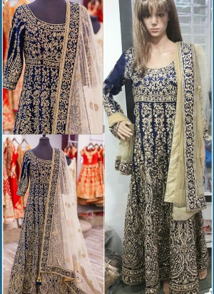 Blue Banglori Silk Full Embroidered Wedding Wear Indian Suit at Zikimo