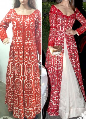 Red White Banglori Silk Full Embroidered Floor Length Indian Suit at Zikimo