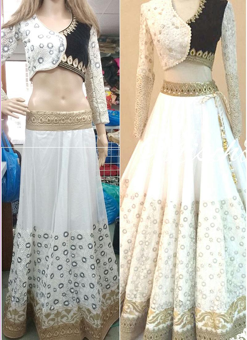 Black White Velvet Net Embroidered Indian Wedding Wear Lehenga Choli At Zikimo