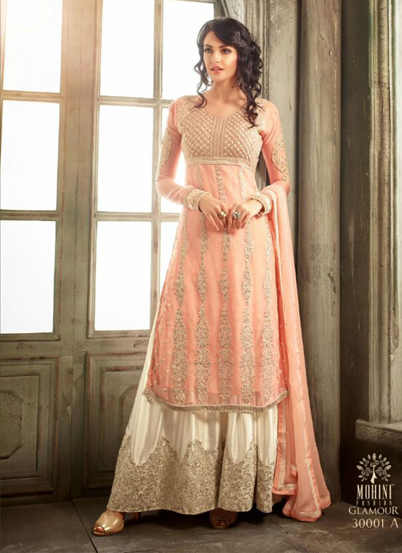 Peach3001a Chiffon Embroidered Wedding Party Plazo Suit At