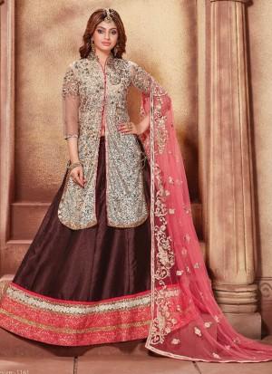 Brown Pink1161 Indian Party Wear Heavy Lehenga Choli at Zikimo