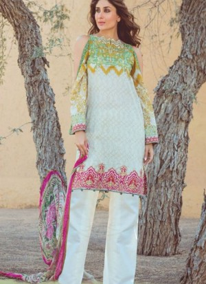 White01 Printed Cambric with Work Pakistani Indian Suit at Zikimo