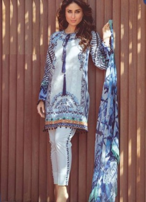 Blue02 Printed Cambric with Work Pakistani Indian Suit at Zikimo