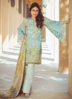 LightPearlAqua03 Printed Cambric with Work Pakistani Indian Suit at Zikimo