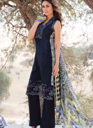 Black04 Printed Cambric with Work Pakistani Indian Suit at Zikimo