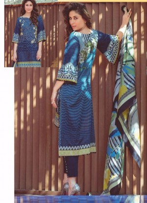 DarkBlue06 Printed Cambric with Work Pakistani Indian Suit at Zikimo