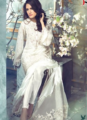 White27001 Poly Georgette Pakistani Indian Embroidred Straight Suit At Zikimo