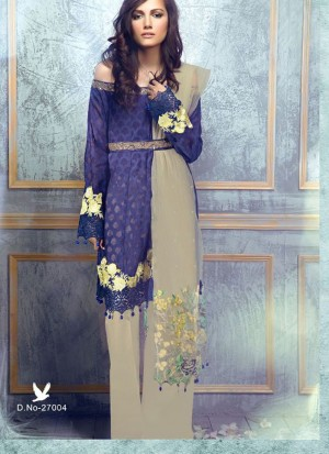 DarkBlue27004 CottonSatin Pakistani Indian Embroidred Straight Suit At Zikimo