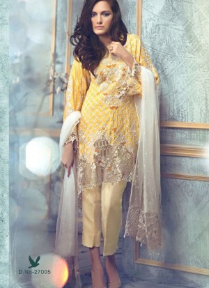 TurmericYellow27005 BanarasiSilk Pakistani Indian Embroidred Straight Suit At Zikimo