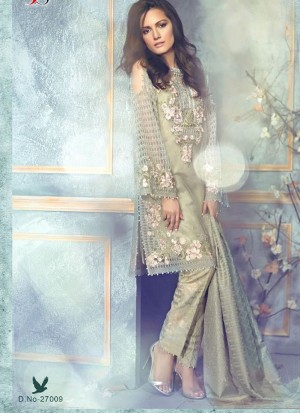 LaurelGreen27009 Net Pakistani Indian Embroidred Straight Suit At Zikimo