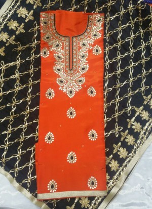 OrangeBlack Brocade Siyoni Punjabi Salwar Kameez With chiffon duppta at Zikimo