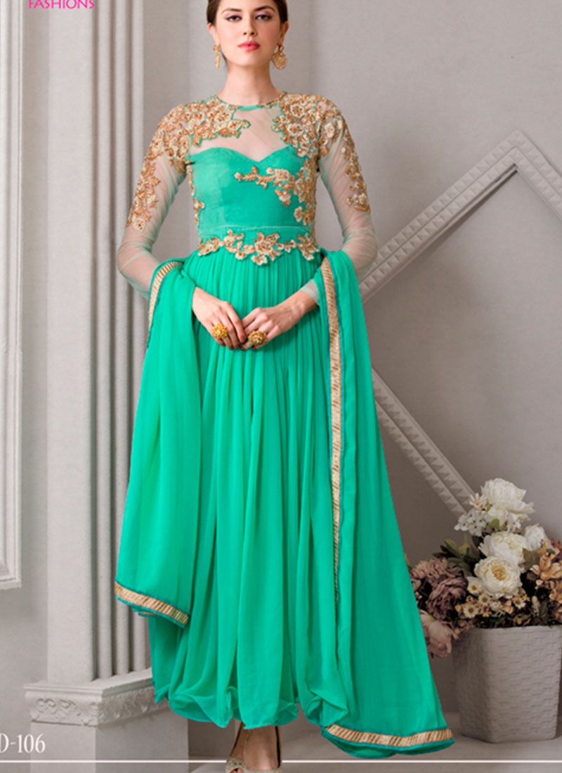 Green106 Georgette Indian Wedding Anarkali Suits at Zikimo
