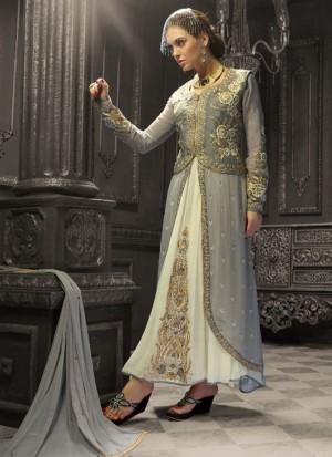 Hgrey Cream1005 Indian FestiveWear Jacket Style Churidar Suit at Zikimo