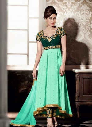Karishma Green Georgette Embroidery PartyWear Anarkali Suit at Zikimo