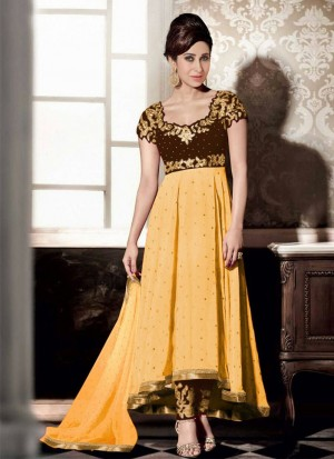 Karishma yellow Georgette Embroidery PartyWear Anarkali Suit at Zikimo