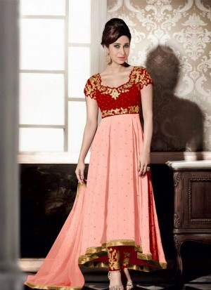 Karishma Maroon Georgette Embroidery PartyWear Anarkali Suit at Zikimo
