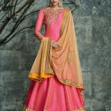 PinkYellow6003 Silk WeddingParty Anarkali Suit at Zikimo