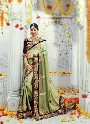 GreenPurple3601 SatinSilk Velvet Zari.DiamondWork WeddingParty Saree At Zikimo