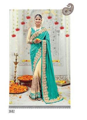 BlueTan3602 Silk Zari.Diamond, Thread Work WeddingParty Saree At Zikimo