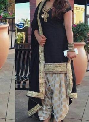 BlackCream Brocade Siyoni Punjabi Salwar Kameez With chiffon duppta at Zikimo