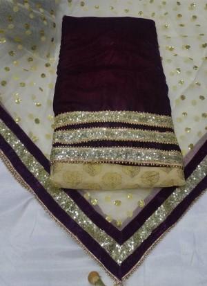 BrownCream Brocade Velvet  Punjabi Salwar Kameez With Net duppta at Zikimo