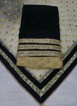 BlackCream Brocade Velvet  Punjabi Salwar Kameez With Net duppta at Zikimo
