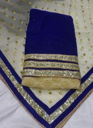 BlueCream Brocade Velvet  Punjabi Salwar Kameez With Net duppta at Zikimo