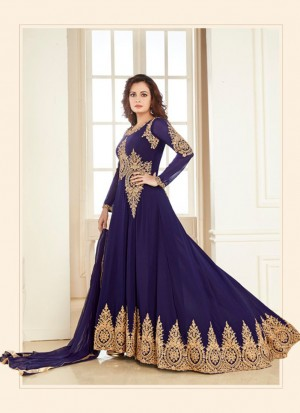 Blue7005A Georgette PartyWear DiyaMirza Anarkali Suit at Zikimo