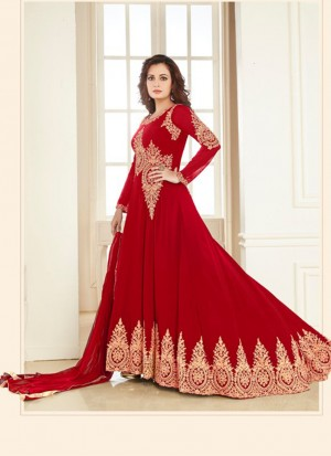 Red7005B Georgette PartyWear DiyaMirza Anarkali Suit at Zikimo