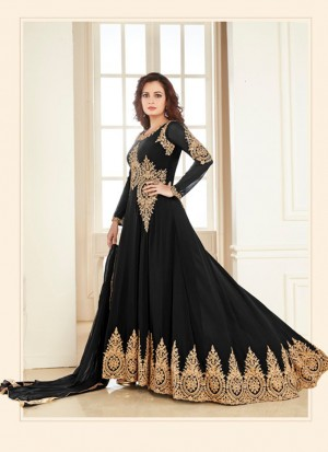Black7005C Georgette PartyWear DiyaMirza Anarkali Suit at Zikimo