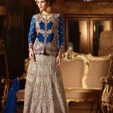 GreyBlue68 BangloriSilk WeddingPartyWear LehengaCholi at Zikimo