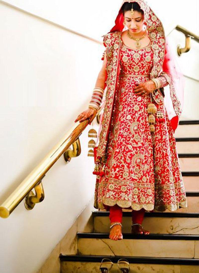 BrideRed Gottawork Anarkali Punjabi Bridal Suit at Zikimo