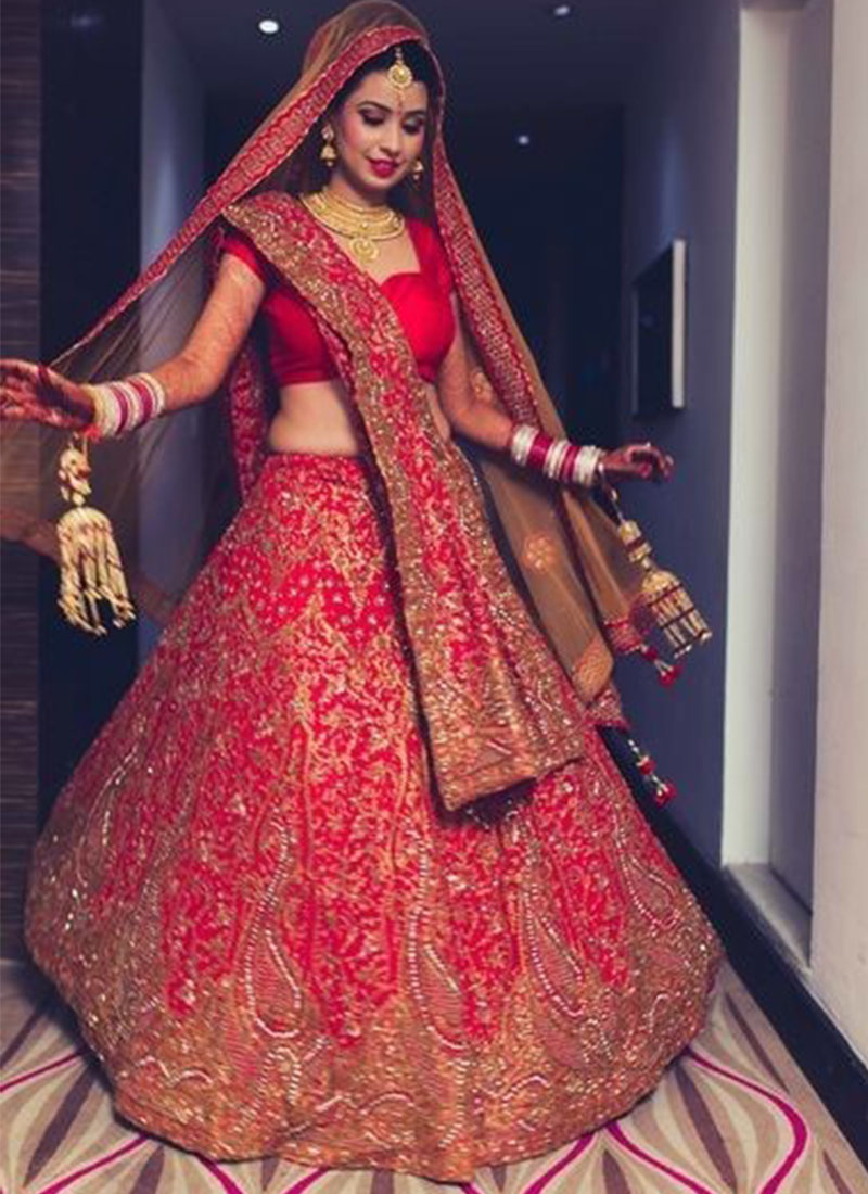 BrightRed ZardosiCrystalStone Work Indian Bridal Lehenga Choli With Two Dupattas At Zikimo