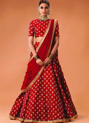 Red03 BhagalpiuriSIlk Indian WeddingParty Fusion Lehenga Choli at ZIkimo
