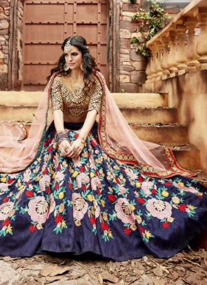 NavyBlue3553 Indo Silk Indian WeddingParty Lehenga Choli at ZIkimo