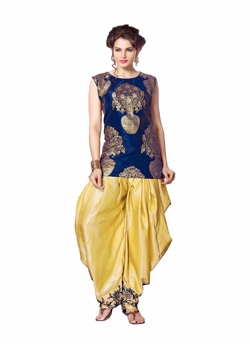 Jacquard SatinSIlk PartyWear Short Top Dhoti Salwar Suit at Zikimo