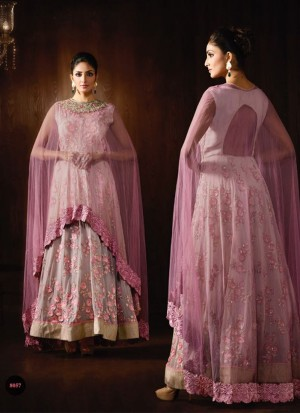 GreyPurple8057 Georgette Embroidery Anarkali Suit With Cape Dupatta At Zikimo